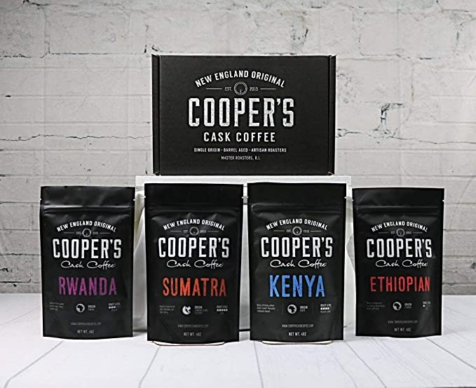 Coopers Cask Coffee Bolsa de café molido 4, origen Gourmet café, Rwanda medio asado, asado de negrita etiope, 1Lb
