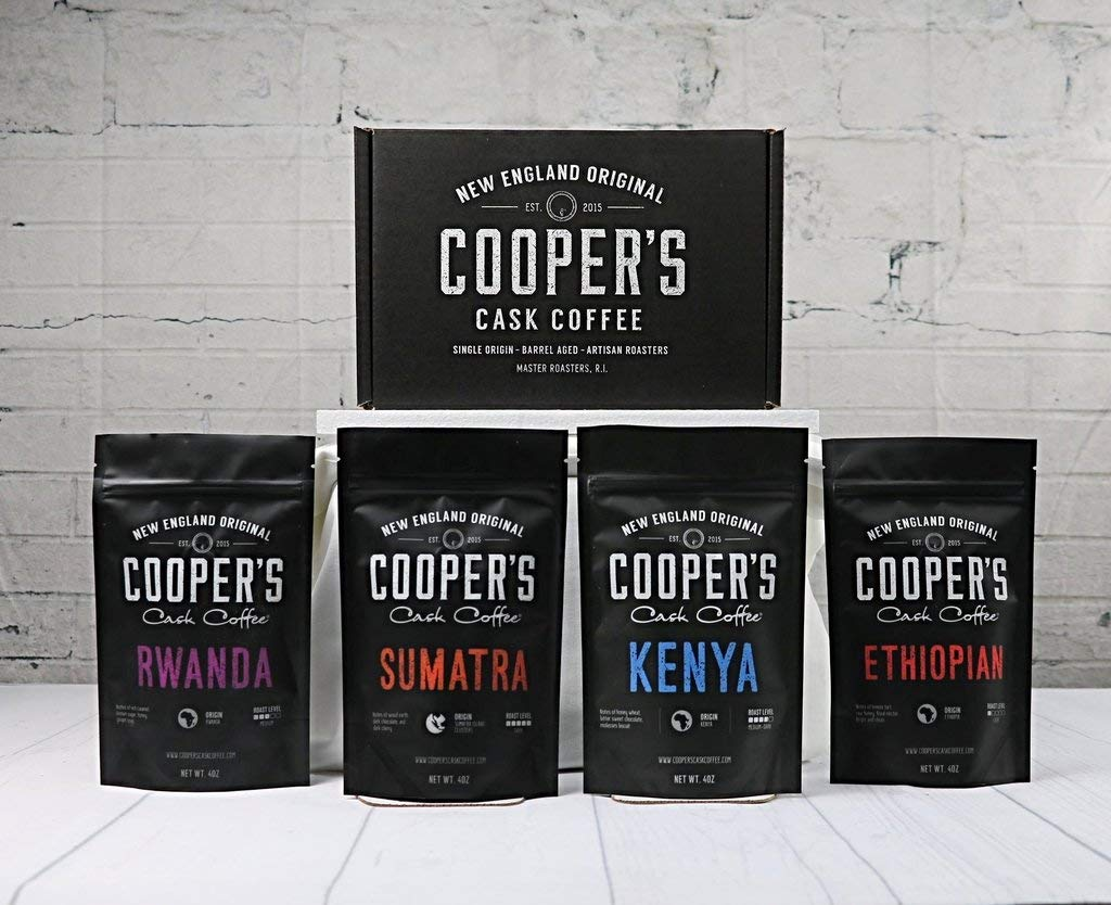 Cooper's Cask Coffee from Sumatra, Kenya, Ethiopia, and Rwanda