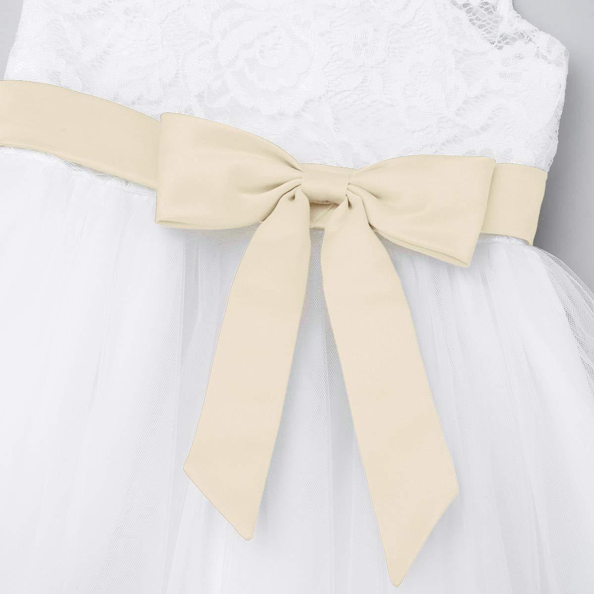 FEESHOW Baby M/ädchen Kleider Spitzen Prinzessin Blumen T/üll Hochzeits Kleider Taufkleid Sommer Wei/ß Gr/ö/ße 62-98