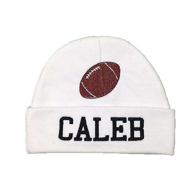 Amazon.com  Personalized Baby Hat with Football - Custom Newborn Hat ... 31cc17e4b1e