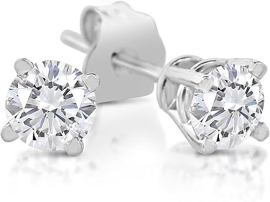 1//4ct Diamond Stud Earrings 14K White Gold
