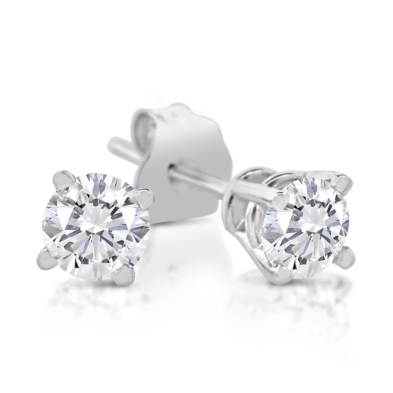1/4ct tw Diamond Stud Earring in 14k White Gold by Sk Jewel,Inc