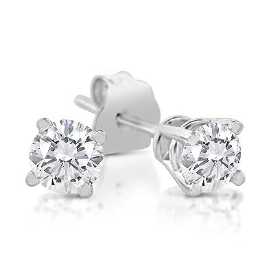 f472f1f42 Amazon.com: 1/6ct tw Diamond Stud Earring in 14k White Gold: Jewelry