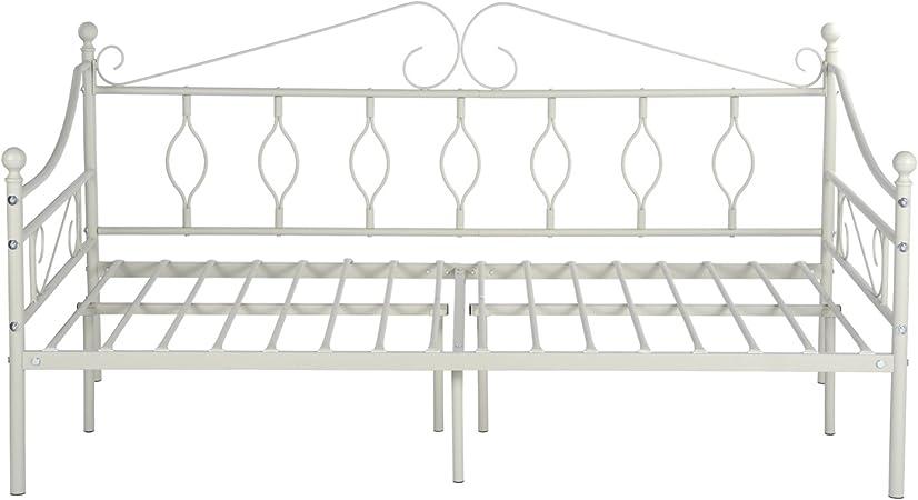 Aingoo Cama de día con somier de láminas para Sala de Estar balcón Banco de jardín (Crema, 90_x_190_cm)