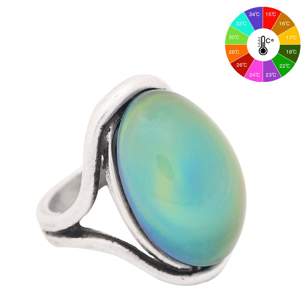 Mojo Handmade Polished Antique Sterling Silver Plating Oval Stone Color Change Mood Ring MJ-RS022