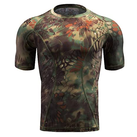 19e522c9 QIAOMENG Tactical Camouflage T-Shirts Short Sleeve for Men Quick Dry Fit Army  T-Shirt Military Fashion Outdoor Hunting Clothes for Fitness Airsoft  Paintball