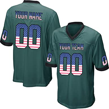 4b0bf64a9fe Customized Women's Green Mesh Football Game Jersey Embroidered Team Name  and Your Numbers,America Flag