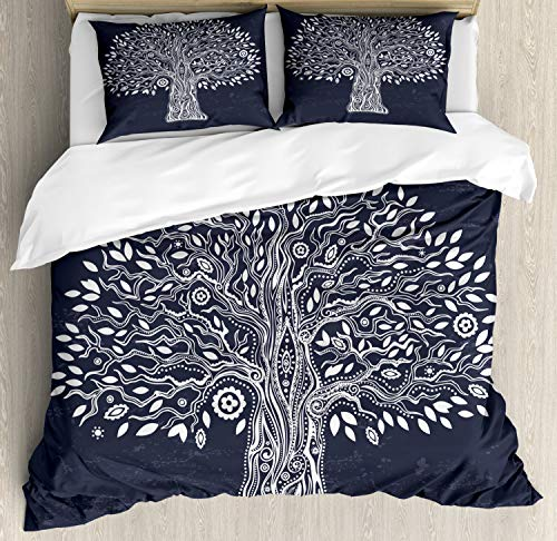 Ambesonne Tree of Life Duvet Cover Set Queen Size, Ethnic Doodle Tree Illustration Oriental Harmonious Design Mother Nature, Decorative 3 Piece Bedding Set with 2 Pillow Shams, Dark Grey White -