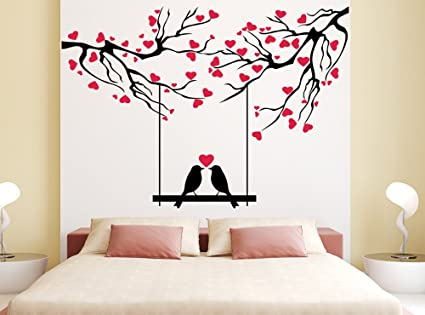 Orange And Orchid Love Bird With Red Small Heart Wall Sticker( Pvc Vinyl,  140