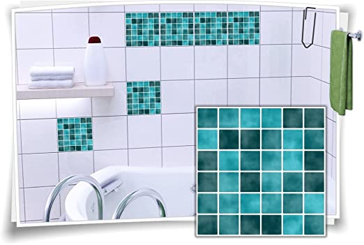 Fliesenaufkleber Fliesenbild Fliesen Aufkleber Fliesenimitat Mosaik Türkis