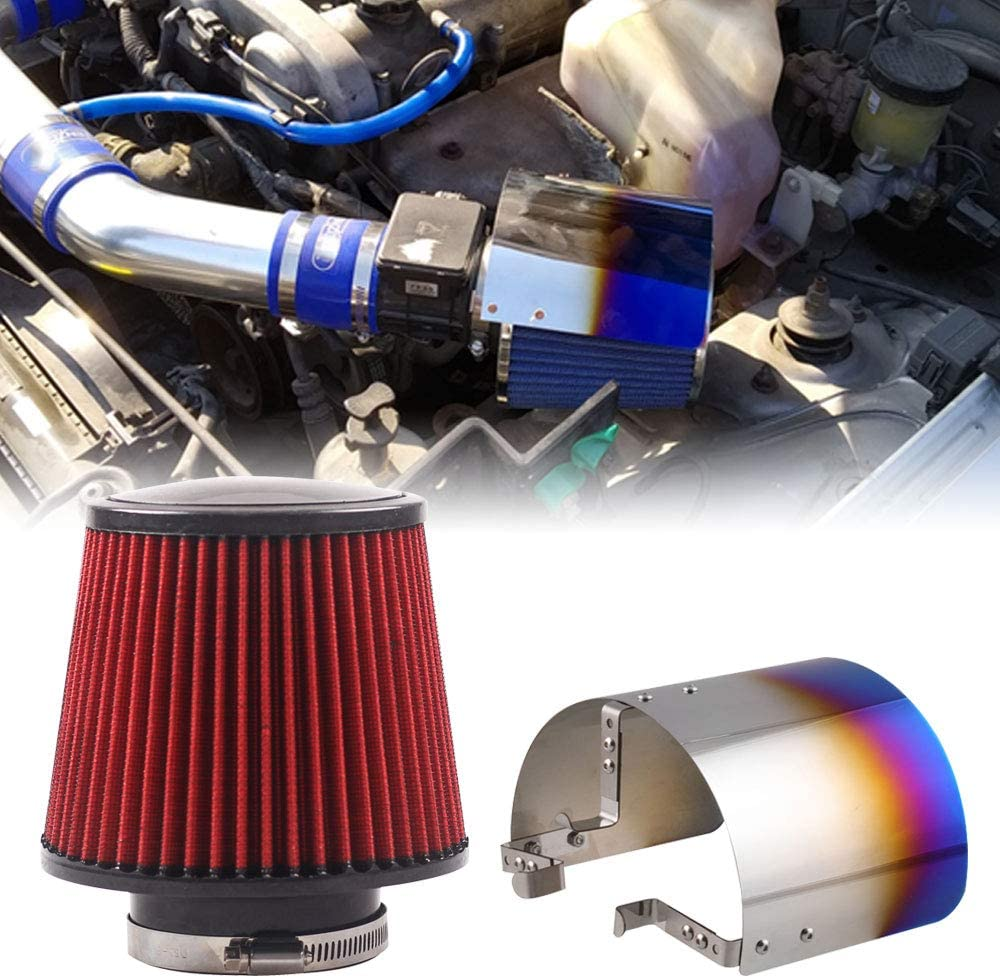 76mm 3 Inch Universal Performance Car Cold Air Intake Turbo Filter Aluminum Automotive Air Filter Induction Flow Hose Pipe Kit RYANSTAR Cold Air Intake Pipe Blue