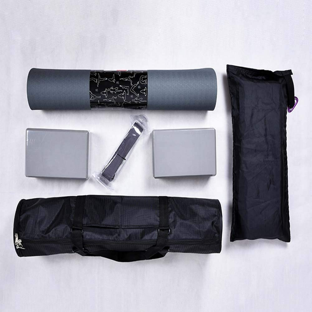 Qys Yogamatte Yoga Ziegel Yoga-Stretchgürtel Vierteiliges Set Mit Tragetasche Für Übung Fitness Turnhalle