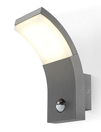 LED Lámpara Pared Diseño Slimline con detector de movimiento Antracita, Color de luz 3000 K