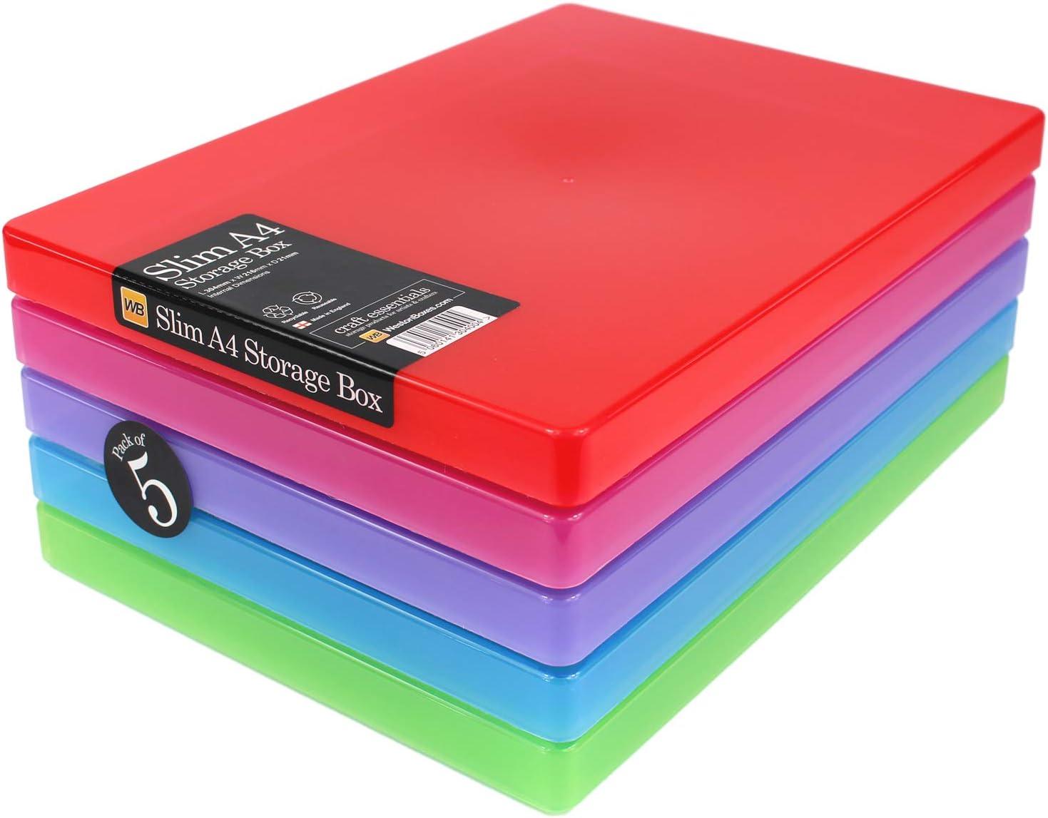 Cajas Weston - Cajas de Almacenamiento A4 Slim para Tarjetas y Papel artesanales: Amazon.es: Hogar