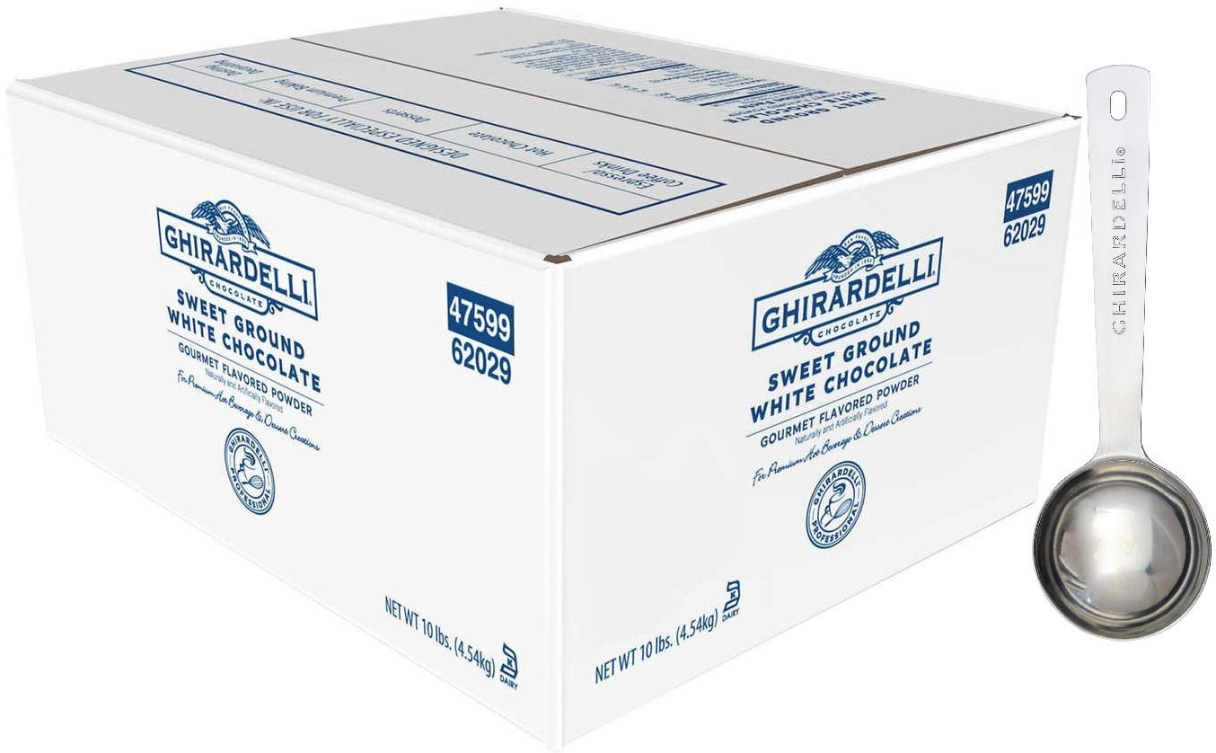 Ghirardelli - Sweet Ground White Chocolate Flavored Gourmet Powder Beverage Mix, 10 Pound Box - with Limited Edition Measuring Spoon by Ghirardelli (Image #1)