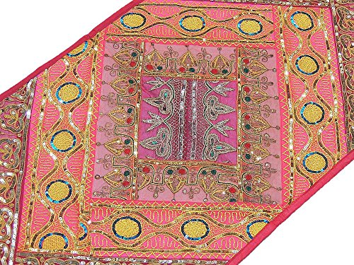 Pink Indian Sari Table Runner - Ethnic Decor Sequin Patchwork Bohemian Wall Hanging Tapestry ~ 60 Inch X 20 Inch