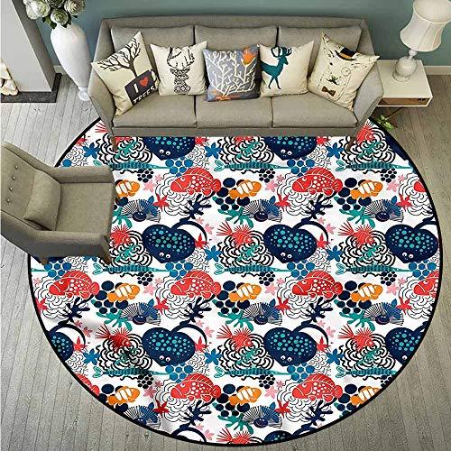 Living Room Round Mat,Aquarium,Heart Shape Stingray Motif,with No-Slip Backing,5'3