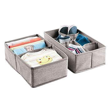 mDesign Organizador para bebe - Juego de 2 Cajones organizadores para cosas de bebé, mantas, etc. - Ideal como caja para guardar juguetes - Color: lino: ...