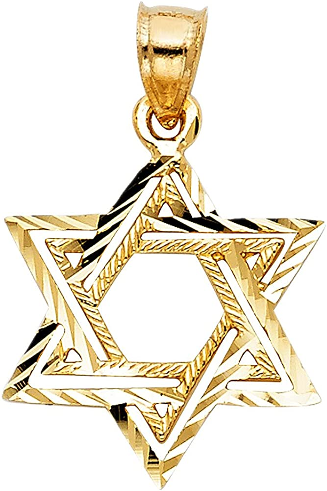 14K Yellow Gold Star of David Charm Pendant with 1.1mm Wheat Chain Necklace