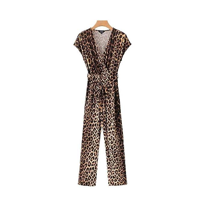cc8e6c052b Amazon.com: Cross V Neck Leopard Print Jumpsuits Pattern Bow tie ...