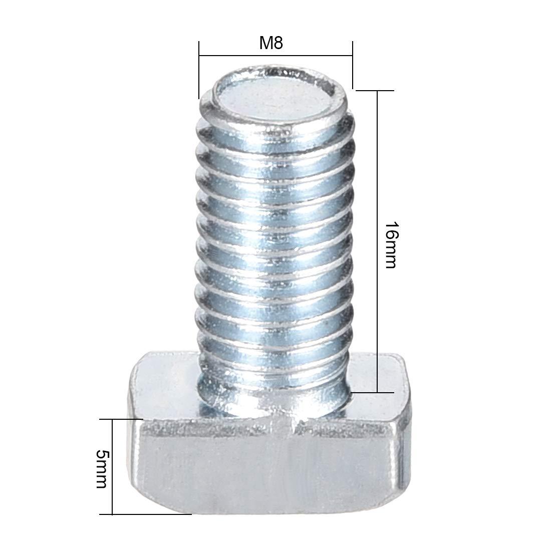 uxcell M6 Thread 16mm T-Slot Drop-in Stud Screw Bolt Carbon Steel 30 Series 20pcs