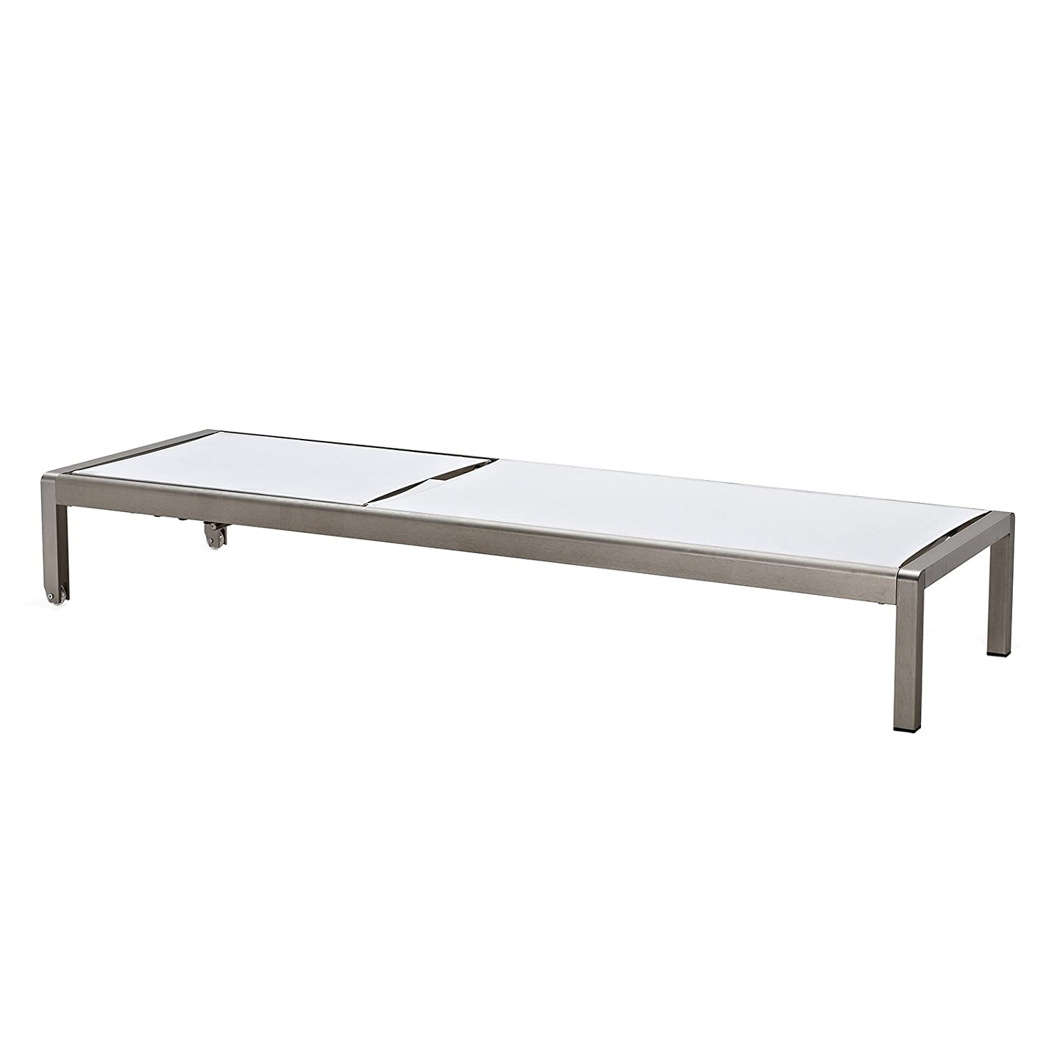 Meelano 200-WHI M200 Outdoor Chaise Lounge, Anodized Aluminum White