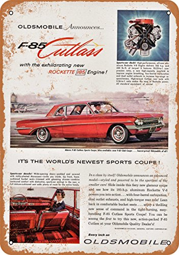 Wall-Color 9 x 12 METAL SIGN - 1961 Oldsmobile F-85 Cutlass - Vintage Look Reproduction Oldsmobile F85 Cutlass