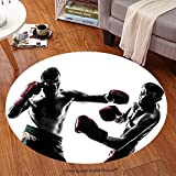 Sophiehome Soft Carpet 140495356 one caucasian man exercising thai boxing in silhouette studio on white background Anti-skid Carpet Round 72 inches