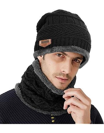 89070e1e47e3 Samione Bonnet Tricot, 2 Pièces Chauffant Bonnet Chapeau Tricot avec Écharpe  de Doublure Polaire,