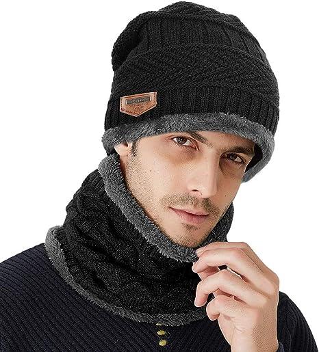 Samione Sombrero de Punto de Invierno, 2 Piezas Gorros de Punto con Bufanda/Calentar Sombreros Gorras Beanie para Mujer y Hombre (Negro): Amazon.es: Deportes y aire libre