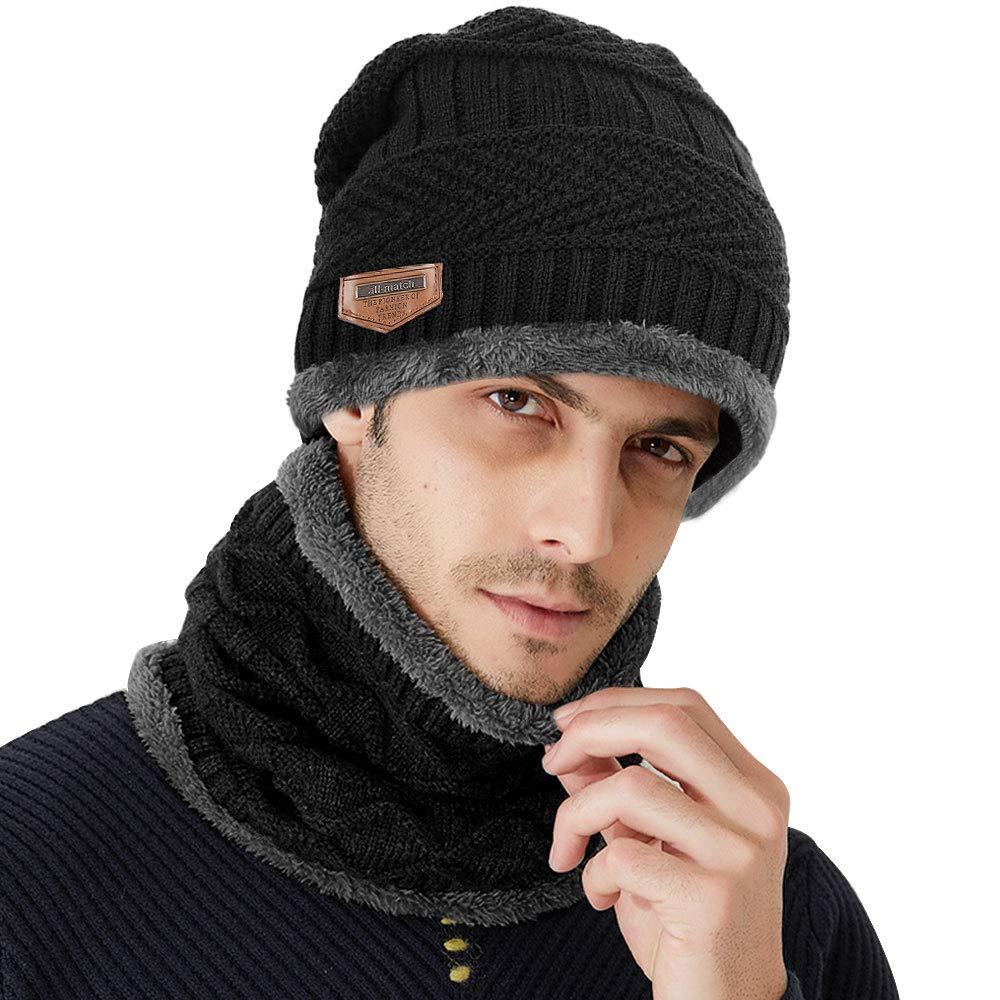 Samione Bonnet Tricot, 2 Pièces Chauffant Bonnet Chapeau Tricot avec  Écharpe de Doublure Polaire, Hiver Homme Femme Unisexe Ski Chapeau Beanie  pour Les ... 4b10c49fbc4