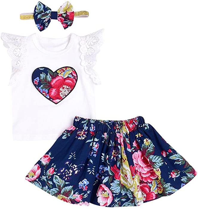 UK Stock Newborn Baby Girl Kids Summer Casual T-shirt Blouse Clothes Shirt Tops