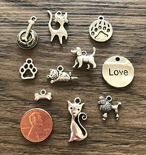 Design Ideas Pet Charms Set, Antiqued Silver Tone, Earring Drops, Pendants, 10mm 20mm, 10 Pcs, Lead Safe, Cat, Dog, Bone, Paw Print, Poodle DIY Jewelry