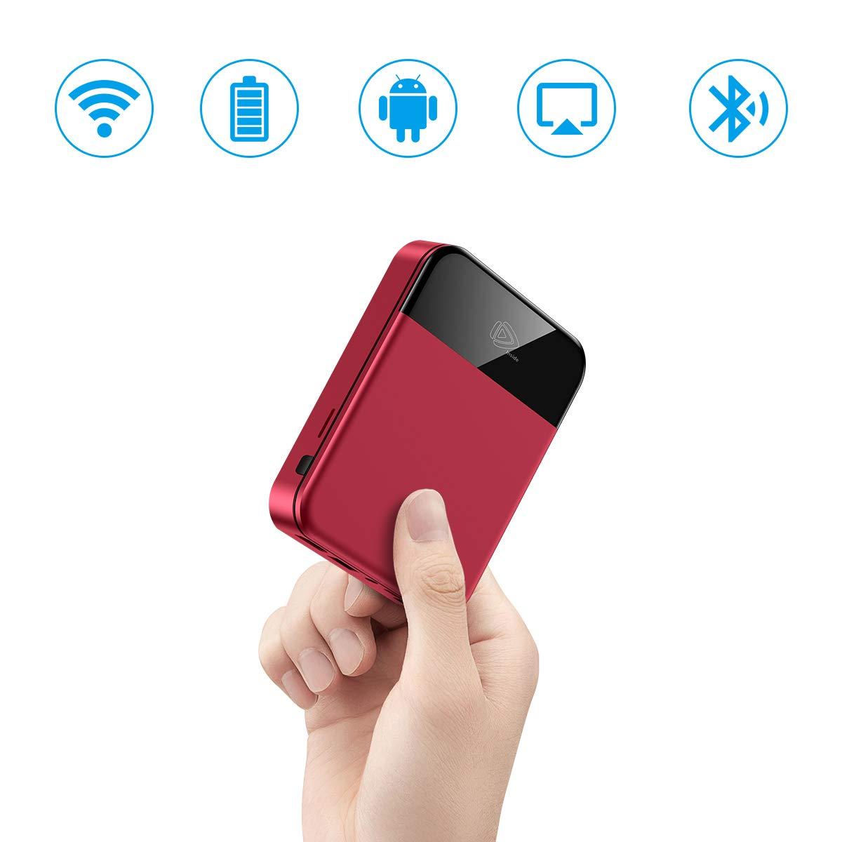 ミニプロジェクター ポータブルビデオ Android TV LEDプロジェクター 内蔵バッテリーサポート 1080P 4K スマートポケットプロジェクター ホームシアター アウトドア オフィス キッズプロジェクタ PODOOR (レッド) B07GWCL2JK