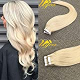 Ugeat 20inch 100Gram Tape in Hair Extensions Darkest Bleach Blonde Color 60 Real Human Hair Tape in Seamless Skin Weft