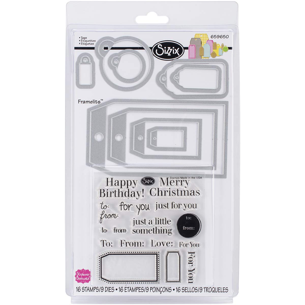 Sizzix Framelits Die and Clear Acrylic Stamp Set (6 Pack)