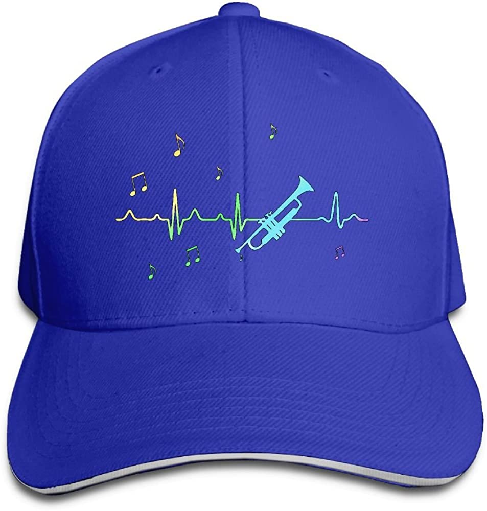 RSUD WESR Trumpet Heartbeat 100/% Cotton Hat Men Women Adjustable Baseball Cap Hat