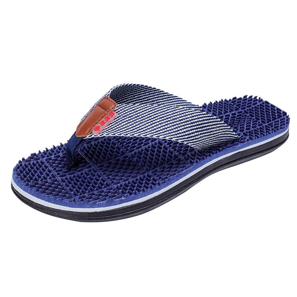 Naladoo Men's Mesh Flip Flops Beach Flats Summer Outdoor Slippers Massage Shoes