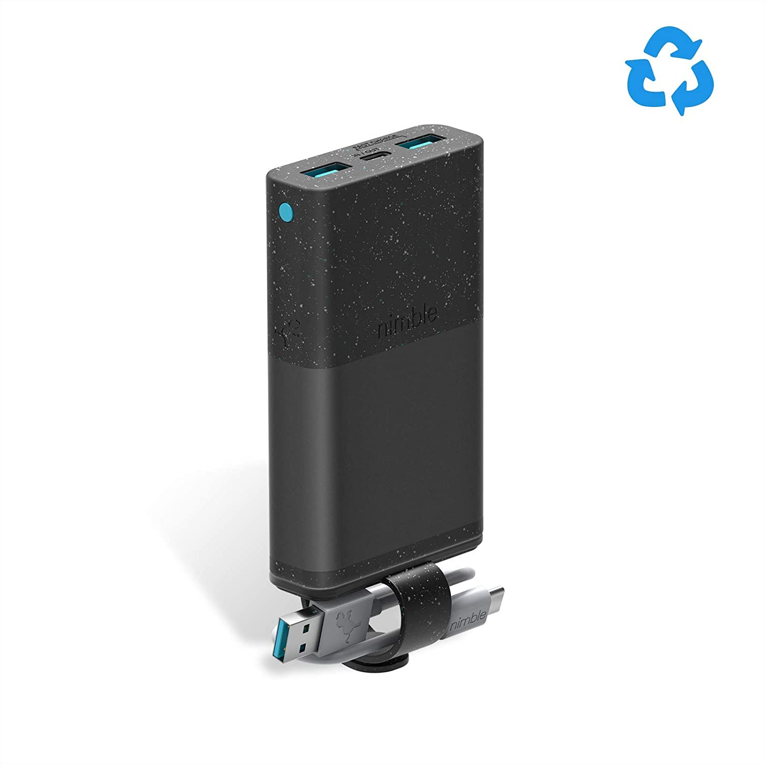 acc1a3f1d8fb90 Amazon.com: Nimble Eco-Friendly 3-Day Portable Charger, 10000 mAh QC 3.0 &  18W Power Delivery Fast Charging USB-C Compatible with Apple, Samsung, ...