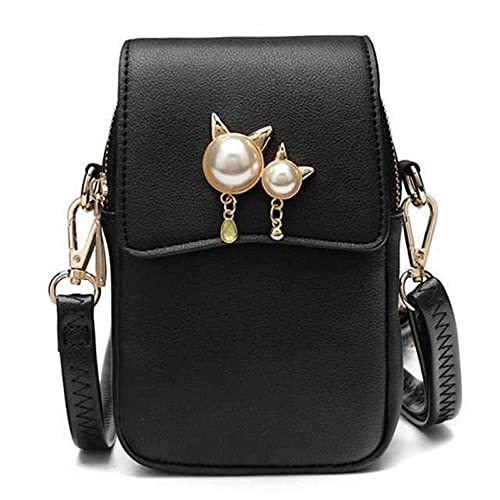 d6620285a3ba Women Small Crossbody Bag Leather Cell phone Purse Wallet Multi Zip Pocket  Adjustable Strap