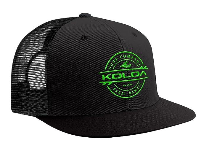 58a85ab808683a Koloa Surf(tm) Thruster Logo Mesh Back Trucker Hat in Black with Green Logo