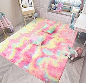 MorroMorn Fluffy Rainbow Area Rug Set of 3 (1 Mat 2 Throw Pillowcases), Mermaid Unicorn Room Decor for Girls Bedroom - Colorful Faux Fur Soft Large Easy Clean 5x8