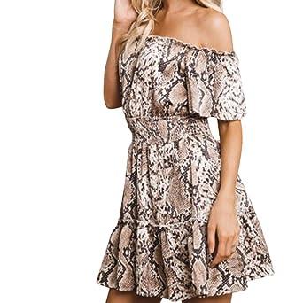 IZZB Mode Damen Sommer Partykleid Leopard Schulterfreies High Resilience Mini Freizeitkleid Abendkleid Cocktailkleid Kleider