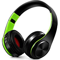 FARVOICE Bluetooth Headphones Over Ear Noise Cancelling Stereo Wireless Headset Wireless Headphone Headset with Microphone for PC/Cell Phones/TV (Green-Black)