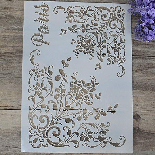DIY Decorative Flower Mandala Stencil Template for Painting on Walls Furniture Crafts (A4 -