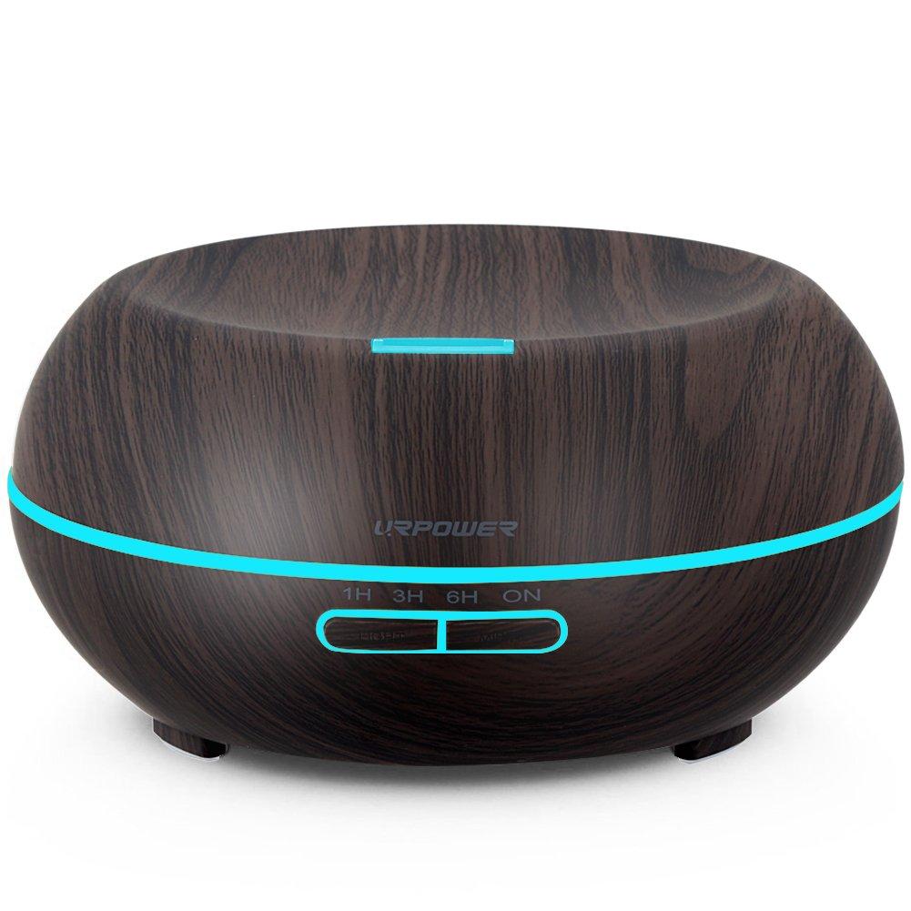URPOWER Essential Oil Diffuser、200 ml木目アロマテラピーディフューザー超音波クールモードで調節可能なミストアロマ加湿器、Waterless自動遮断、7色LEDライト& 4タイマー設定 B01N20H4ZQ