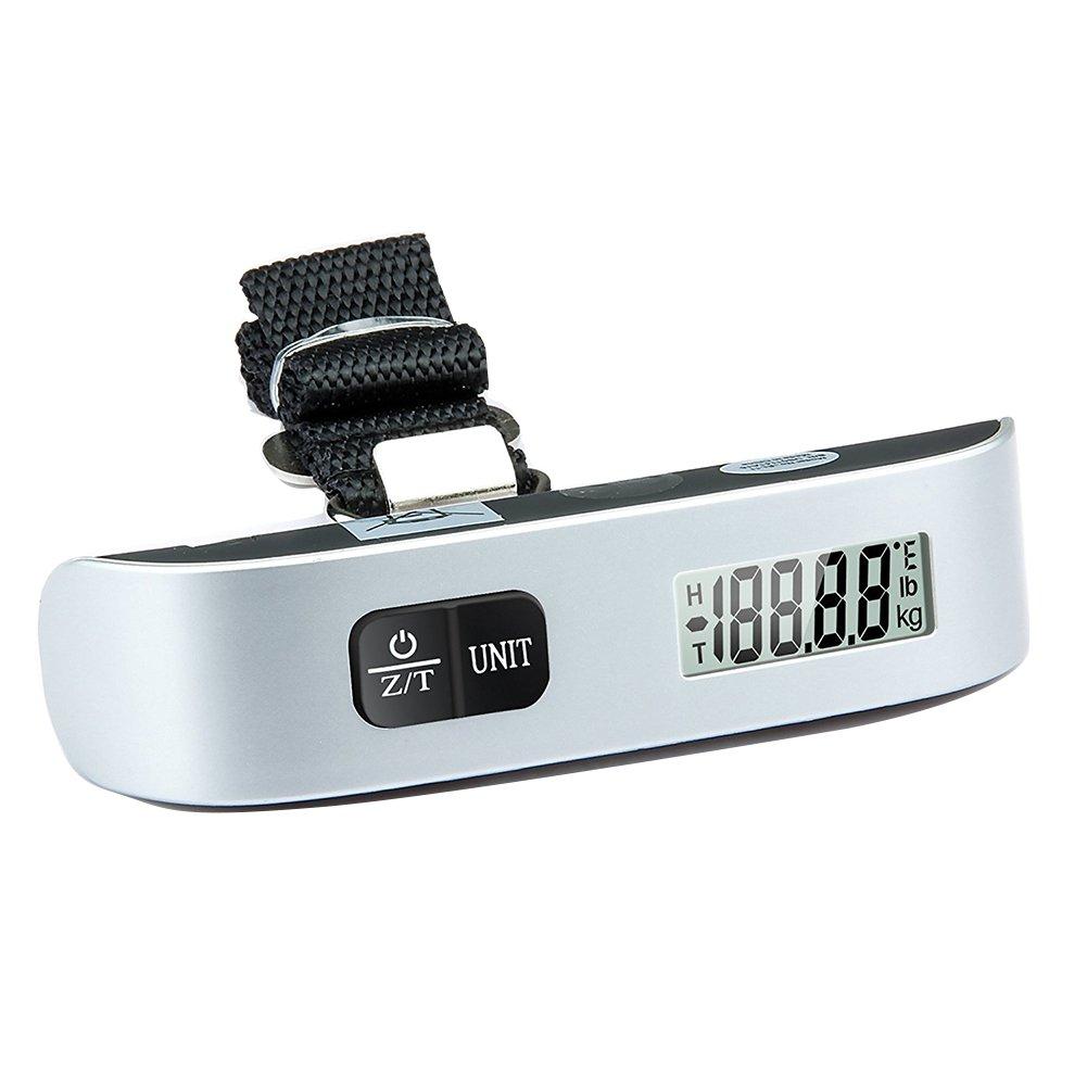 lightbiz Digital Hanging equipaje Escala, de pintura de caucho, sensor de temperatura, 110 libras, Plata: Amazon.es: Hogar