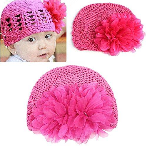 FuzzyGreen Super Cute Flower Design Toddler Infant Baby Girls Kids Crochet Knitting Beanie Hat (Rose Red)