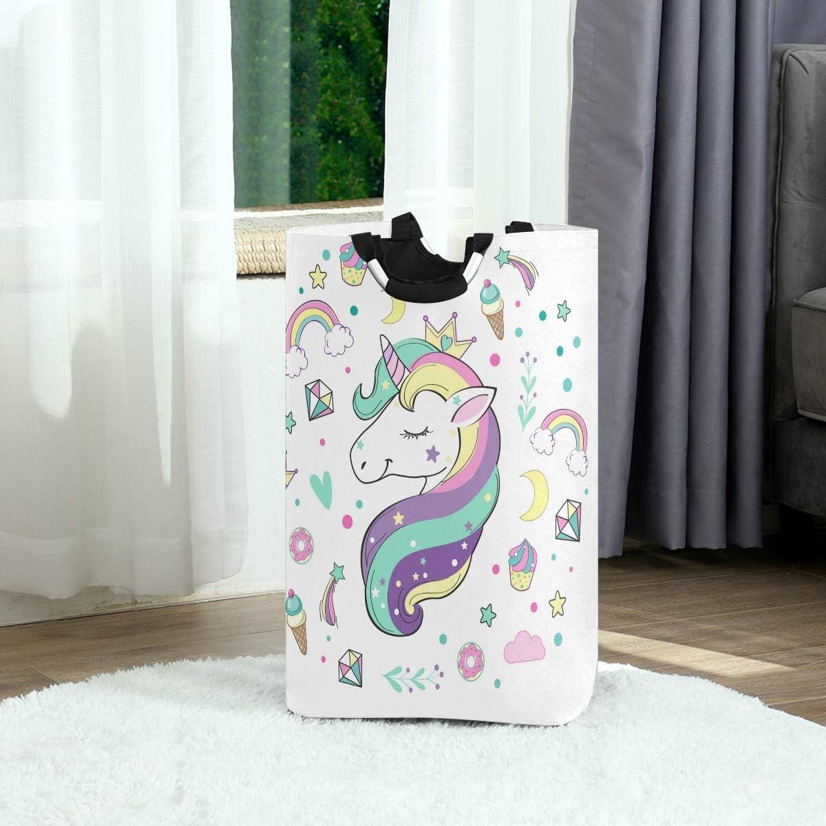 impermeabile camera da letto con manici per bambini Mnsruu per cameretta bagno pieghevole Cesto portabiancheria a forma di unicorno e arcobaleno