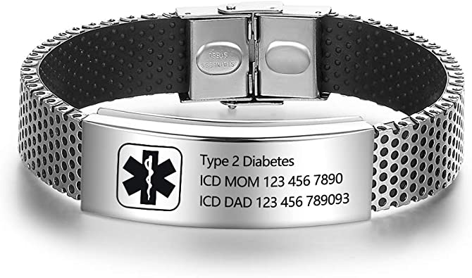 Personalized Black Stainless Steel Quality Medical ID Bracelet